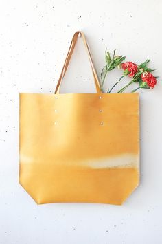 Large Handmade Leather Tote - Faded Mustard   Measurements: 50 cm x 53 cm  Handcrafted by Emma Wright  *One of a kind
