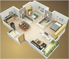 Veja mais de 100 modelos de plantas de casas grátis para você se inspirar e ter a casa perfeita que sempre imaginou e sonhou. Small Modern House Plans, Sims House Plans, House Layout Plans, House Layouts, Sims 4 Houses Layout, Small House Layout, 2 Bedroom House Design, 2 Bedroom House Plans, 2 Room House Plan