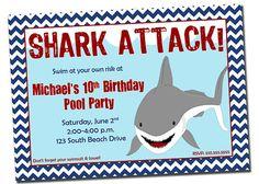 Pool Party Shark Birthday Invitation Printable Digital By Khudd