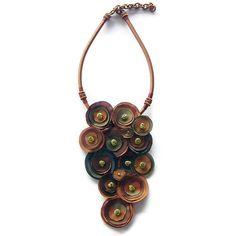 Terracotta fabric flower necklace nature Inspired - IV Handmade ooak taffeta. $30.50, via Etsy.