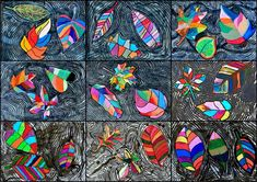 Group work: mixed media leaves