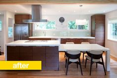 Before & After: A Bold Kitchen Transformation Kitchen Island And Table Combo, Kitchen Island With Seating, Kitchen Benches, Island Bench, Kitchen Living, New Kitchen, Kitchen Redo, Before After Kitchen, Galley Kitchen Remodel