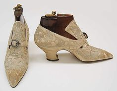 Shoes 1914, French, Made of silk and leather