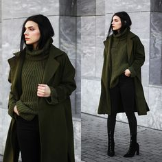 Holynights Claudia - Shein Coat, Shein Sweater - Army green and black