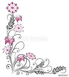 """Laden Sie den lizenzfreien Vektor """"Ranke, flora, Blüten, Schmetterlinge, schwarz, pink"""" von christine krahl zum günstigen Preis auf Fotolia.com herunter. Stöbern Sie in unserer Bilddatenbank und finden Sie schnell das perfekte Stockbild für Ihr Marketing-Projekt!"""