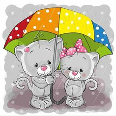 Illustration about Two cute cartoon kittens with umbrella under the rain. Illustration of animals, celebrations, childbirth - 80732559 Cartoon Cartoon, Kitten Cartoon, Cartoon Characters, Cartoon Mignon, Illustration Mignonne, Scrapbook Images, Pink Umbrella, Cute Animal Illustration, Cute Clipart
