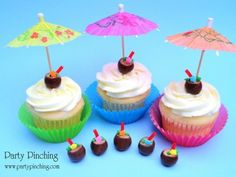 Coconut drink cupcake toppers made from Whoppers malted milk balls