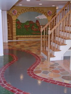 Kid Playing Room- painted cement floor for basement Unfinished Basement Playroom, Playroom Flooring, Basement House, Cozy Basement, Basement Makeover, Attic Playroom, Basement Stairs, Playroom Ideas, Basement Ideas