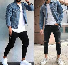 2 very similar looks. Left or right? Tell us what you think in the comments below Denim Fashion, Fashion Outfits, Man Fashion, Fashion Guide, London Fashion, Street Fashion, Sneakers Fashion, Shoes Sneakers, Stylish Mens Outfits