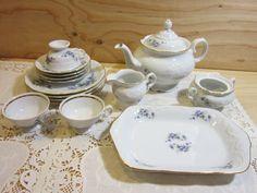 Vintage Wawel Tea Set in Violet Pattern * 21 Piece Wawel Fine Porcelain Tea or Coffee Set Made in Poland * Wawel China Tea Pot by RainbowConnection15 on Etsy