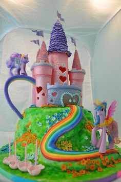 My Little Pony Birthday Cake cake my little pony cake birthday party cake girl pink blue rainbow cookie cupcake My Little Pony Party, Cumple My Little Pony, Little Girl Birthday, Birthday Cake Girls, Birthday Cakes, Mlp Cake, Girl Cakes, Party Cakes, Rainbow Cookie