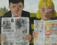 Children Reading Comics Peter Blake (English, born Oil on board. Tullie House Museum and Art Gallery. Blake and his sibling (with a patch over her eye) are sitting outside reading comics from a newspaper whose print is almost readable. Peter Blake, Cultura Pop, Richard Hamilton, Pop Art Wallpaper, Lonely Heart, Arte Pop, Kids Reading, Reading Art, Art Uk