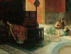 Henry Siddons Mowbray  (American Painter , 1858 – 1928)  –  Harem Scene