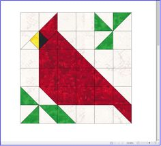 A quilt block for our 2017 Christmas quilt. This cardinal is.- A quilt block for our 2017 Christmas quilt. This cardinal is included in our quilt this year due to the beauty and the meaning it has this time of year - Barn Quilt Designs, Barn Quilt Patterns, Pattern Blocks, Quilting Designs, Patchwork Patterns, Paper Pieced Patterns, Pattern Ideas, Quilting Patterns, Canvas Patterns