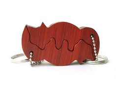 Nested Foxes Key Chain Wood Fox Keychain Redheart Hand Cut Wood Scroll Saw