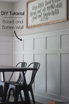 Board and Batten Wainscoting - Full Tutorial and Video - Rogue Engineer - - This is a complete and free tutorial (video also!) on how to install your own board and batten style wainscoting without spending a fortune. Dining Room Wainscoting, Dining Room Walls, Wood Wainscoting, Dining Room Paneling, Home Renovation, Home Remodeling, Kitchen Remodeling, Bedroom Remodeling, Diy Home