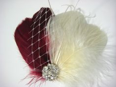 Wedding Bridal Ivory Burgundy Red Feather Rhinestone Jewel Veiling Head Piece Hair Clip Fascinator Accessory READY TO SHIP. $34.00, via Etsy.