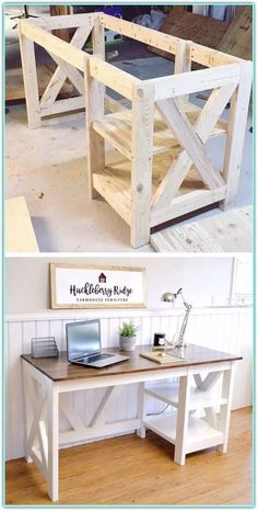 Bauernhaus X Schreibtisch Diy Craft Table diy craft room table with ikea furniture on a budget Diy Projects For Bedroom, Diy Furniture Plans Wood Projects, Diy Pallet Projects, Wooden Furniture, Furniture Ideas, Easy Projects, Bedroom Crafts, Ikea Furniture, Diy Pallet Furniture