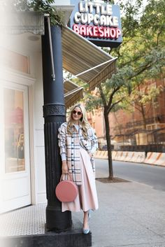 Love the cupcake bakery shop in the background!! pastel // plaid | // Atlantic-Pacific