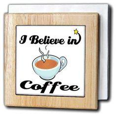 3dRose I Believe In Coffee, Tile Napkin Holder, 6-inch