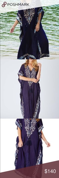 BEAUTIFUL Ruby Yaya sequin maxi kaftan tunic dress Add some bling to your night in the Sequin Maxi Dress from Ruby YaYa. In a relaxed fit this kaftan is perfect for summer evening drinks or anytime you want to pretend you are on vacation. Team with some silver strappy sandals and a bangle stack. V neck with cord tie Embroidered front with silver look sequin detail Extended short sleeve with feature trim Sequin trim around hem Relaxed fit with side splits Crinkle cotton fabric feel no stretch…