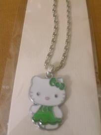 Hello Kitty Kids Girls Necklace with a Green Dress and Hair Bow