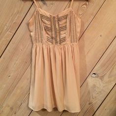 American Eagle Baby doll dress Black and gold beaded, ballet slipper colored baby doll dress from American Eagle-- WORN ONCE-- GREAT CONDITION No trades make me an offer!!!!  American Eagle Outfitters Dresses