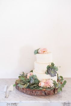 white cake topped with succulents and light pink flowers on top of a rustic log cake stand | Style Me Pretty
