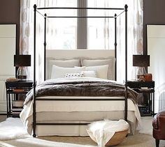 Antonia Metal Canopy Bed, Queen, Aged Bronze finish