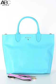Patrizia Pepe shopper in turquoise leather