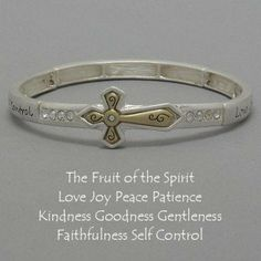 Amazon.com: Womens Silver & Gold Tone Bracelet, Side Cross (Sideways) Religous..the Fruit of the Spirit: Jewelry