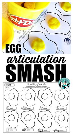 Eggs for breakfast and eggs for speech! Kids love the articulation EGG Smash play dough mats and SLPs love the low prep + high engagement levels in therapy! Grab yours today!