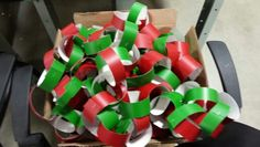 Christmas chaines made with red and green papers.