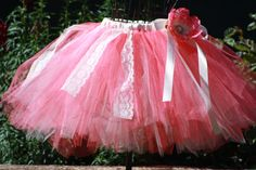 Emma's Tea Party coral and ivory lace tutu for weddings, flower girls,birthdays,dress up,photoprop,tea party on Etsy, $35.99