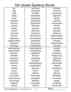 English Spelling Words, Spelling Bee Words, Spelling Word Activities, 5th Grade Activities, Spelling Worksheets, Teaching 5th Grade, Spelling Lists, English Vocabulary Words, Learn English Words