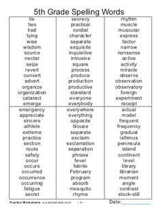 Spelling Word Activities, 5th Grade Activities, 5th Grade Worksheets, Homeschool Worksheets, Spelling Worksheets, Homeschooling, Homeschool Curriculum, Fifth Grade Spelling Words, Spelling Words List