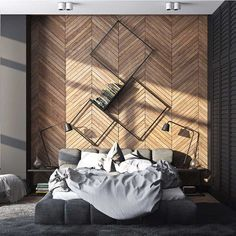 18 Wooden Accent Wall Ideas For Modern Bedroom Home Design And Interior Bedroom Accent Walls to Keep Boredom Away Accent Wall Ideas You. Loft Interior, Interior Design Kitchen, Modern Interior Design, Design Interiors, Luxury Interior, Modern Bedroom Design, Contemporary Bedroom, Modern House Design, Bedroom Designs