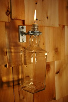 Upcycled Jack Daniels Bottle Indoor Oil Candle by PineknobsAndCrickets, $20.00