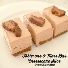 Toblerone and Mars Bar Cheesecake Slice Recipe Desserts with cheese, condensed milk, chocolate, vanilla essence, Mars Candy Bars, biscuits, butter