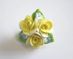 Vintage China Flower Brooch by Coalport China, Yellow Roses RESERVED
