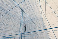 Playful Interior Space Constructed from 3D Grid of Ropes - My Modern Metropolis