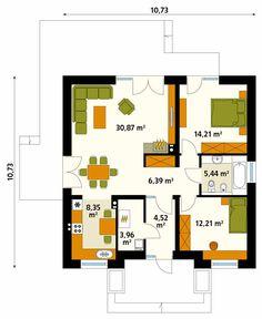 Projekt domu MT Elka 2 paliwo stałe CE - DOM - gotowy koszt budowy Model House Plan, New House Plans, Small House Plans, House Floor Plans, Flat Plan, Garden Cabins, Usa House, Gate House, Home Design Plans