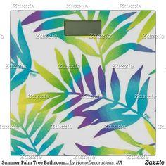 Shop Summer Palm Tree Bathroom Scale created by HomeDecorations_JA. Palm Tree Bathroom, Bath Scale, Palm Trees, Create, Summer, Palm Plants, Summer Time