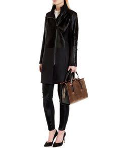 Pony skin effect leather coat - Black | Jackets & Coats | Ted Baker UK