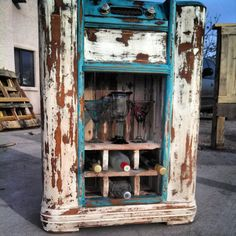 repurposed antique radio wine rack. by upCycledreCreations on Etsy, $175.00