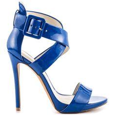 Aldo Women's Ralevia - Bluette ($63) ❤ liked on Polyvore featuring shoes, sandals, blue, patent leather sandals, platform shoes, high heel sandals, ankle tie sandals and aldo shoes