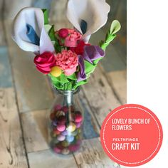 Make this stunning bunch of flowers with this felt flower kit. Without the hassle of having to shop for supplies, you can make this bunch of flowers in two-three hours. Make it for yourself and never have to worry about flowers dying again. Or make them as a thoughtful and kind gift. Once