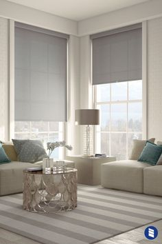Levolor Solar Roller Shades Give your living room windows a sleek look with Levolor Solar Shades - available in of colors, patterns and light blocking levels. This collection only available at Bl Living Room Modern, Home Living Room, Living Room Designs, Living Room Furniture, Living Room Decor, Small Living, Cozy Living, Window Treatments Living Room, Living Room Windows