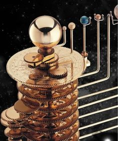 Our Solar System Modern Orrery - Mechanical model of the solar system Make A Solar System, Solar System Model, Steampunk, Mechanical Art, Antique Clocks, Constellations, Gadgets, Cool Stuff, Antiques