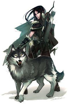 Female Pathfinder Half-Elf Ranger   Ranger and Wolf -  fantasy, woman, wolf, bow, arrows, ranger ...